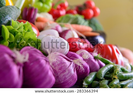 Many different ripe vegetables healthy eating vegetarian - stock photo