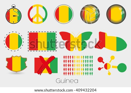 Many Different styles of flag for Guinea
