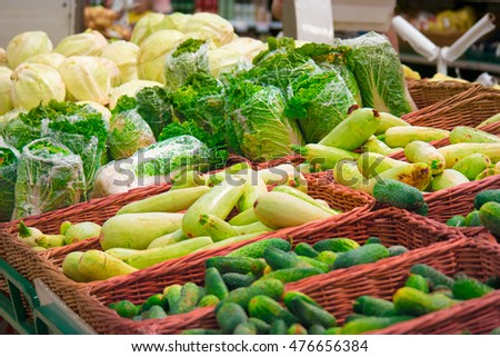 Many different vegetables in the grocery store
