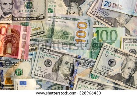 many dollar and euro - stock photo