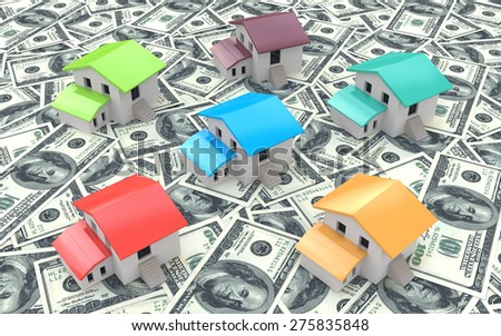 Many dollar banknotes and models of houses, concept of buying a house - stock photo