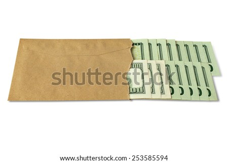 Many dollar bills in an envelope - stock photo