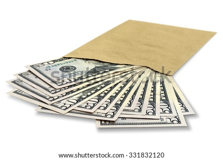 Many dollar bills in an envelope - stock photo