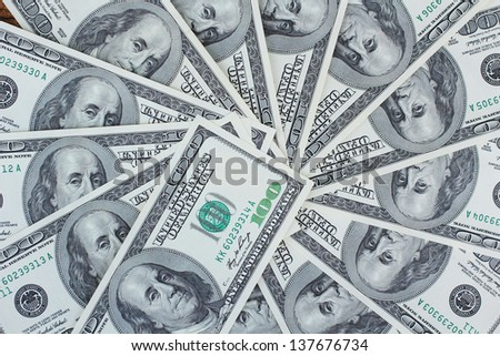 Many dollars banknotes - USD paper currency - stock photo