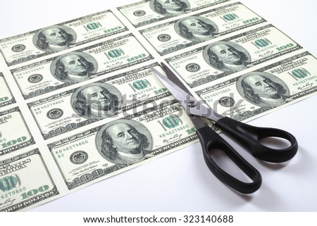 Many dollars on one leaf of paper and scissors. Budget cut concept. - stock photo