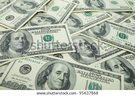 many dollars on the table - stock photo