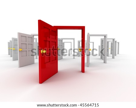 Many doors. 3d - stock photo