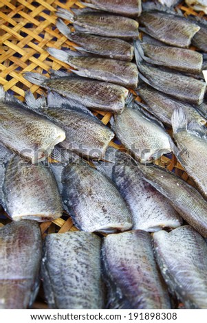 many dry salt fish in thai food - stock photo