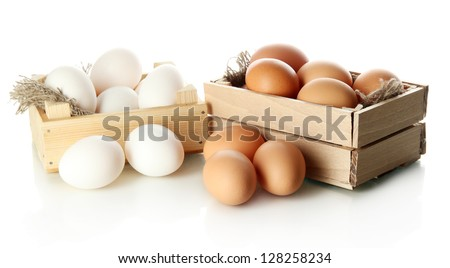 Many eggs in boxes isolated on white - stock photo