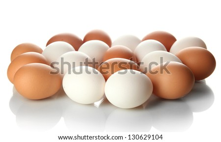 Many eggs isolated on white - stock photo