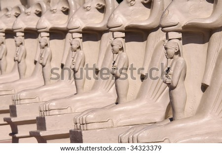 Many Egyptian statues in a row at Luxor hotel Las Vegas - stock photo