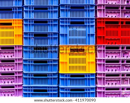 many empty crate packaging background wait for load product