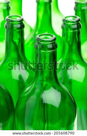 Many empty green bottles - stock photo