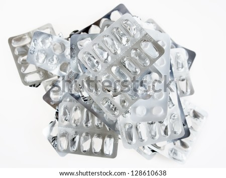 Many empty used packs of pills - stock photo