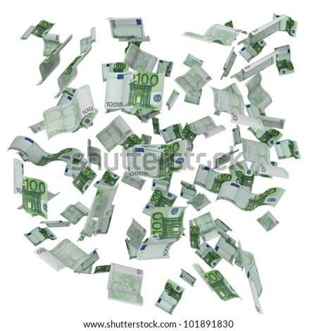 Many Euro 100 banknotes forming a background