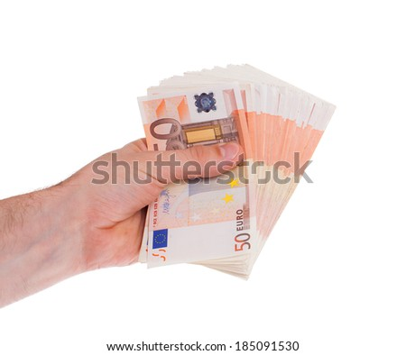 Many 50 euro bills in a hand, isolated on white