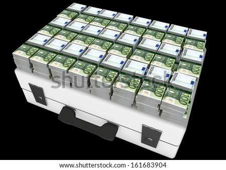 many euro bundles on money suitcase - stock photo