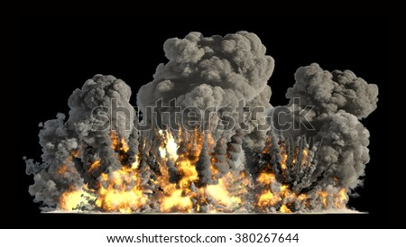many explosions on ground - stock photo