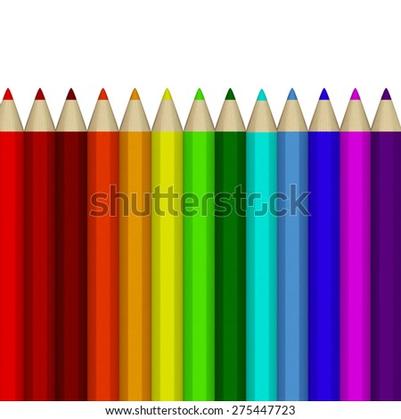 Many fake 3D rendered crayons forming a spectrum of colored row isolated on white background