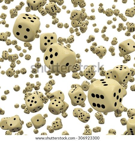 Many Falling 3D Dices with Three of Them in Focus - Four, Five and Six - White Background - Graphic Illustration - stock photo
