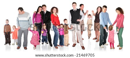 many family with children group isolated - stock photo