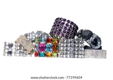 Many fashion colorful brilliant bangles - stock photo
