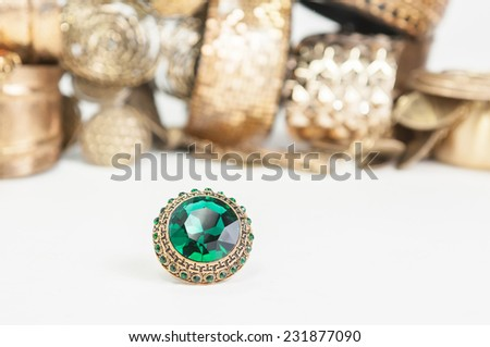Many fashionable women's jewelry and bracelets for hand - stock photo