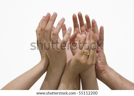 Many female and male hands symbolizing the union / cooperation /success...