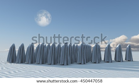 Many Figures covered in cloth 3D Render - stock photo