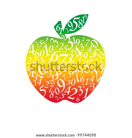 Many figures in the form of an apple. The isolated white background. - stock photo