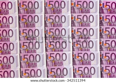 many five hundred euro banknotes are adjacent. photo icon for wealth and investment - stock photo