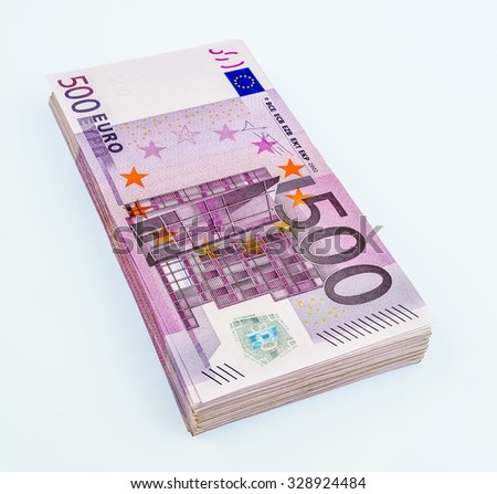 many five hundred euro banknotes. photo icon for wealth and investment - stock photo