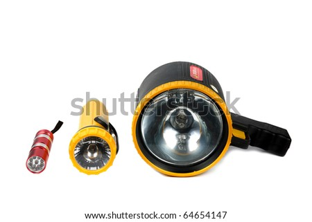 many flash light isolated on white background