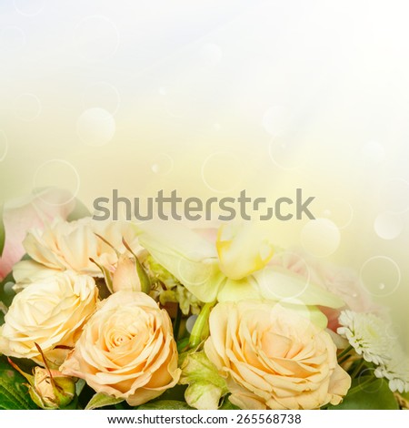 Many flowers in basket on the sun backgrounds. decoration, - stock photo