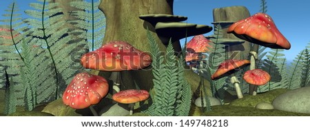Many fly agaric mushrooms, leaves and stones in the forest by sunset - stock photo