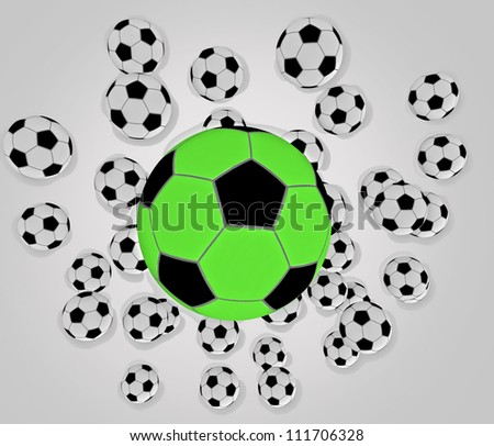 many flying football balls jumping on white floor and reflections in it and with clear blue sky background - stock photo