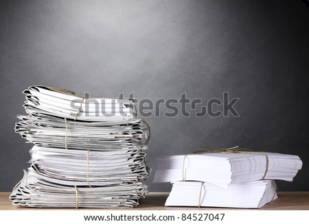 many folders and on gray background