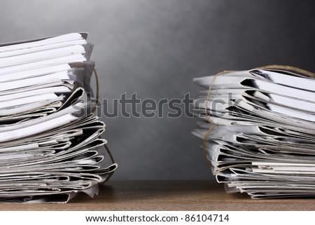many folders and on gray background - stock photo