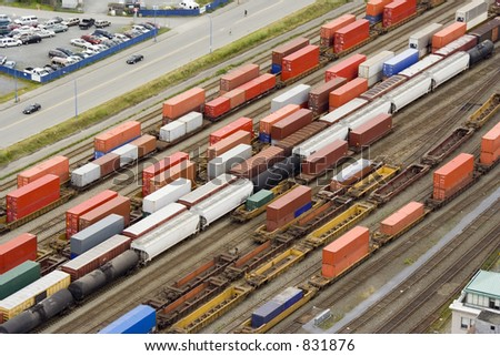 many freightliners  - commercial transport in canada - stock photo