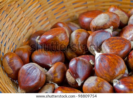 many fresh chestnuts in a basket - stock photo