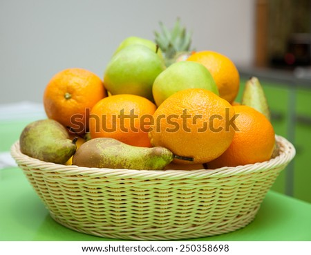 Many fresh fruits in a basket