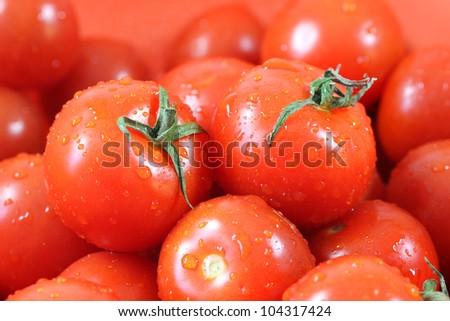 Many fresh ripe tomatoes close up shot - stock photo