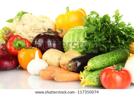 Many fresh vegetables close-up - stock photo