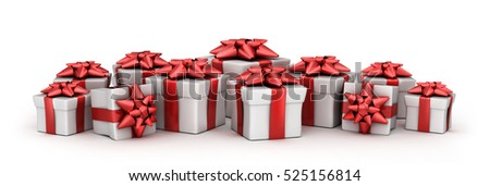 Many gift and white background. 3d illustration