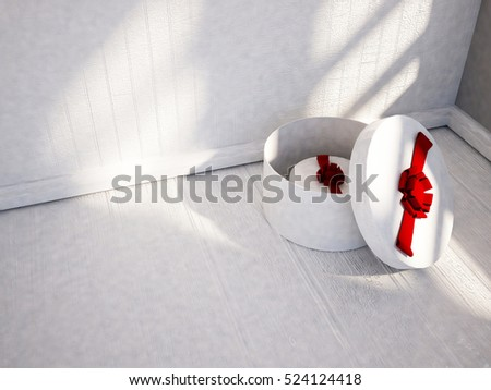 many gifts on the white floor, 3d rendering