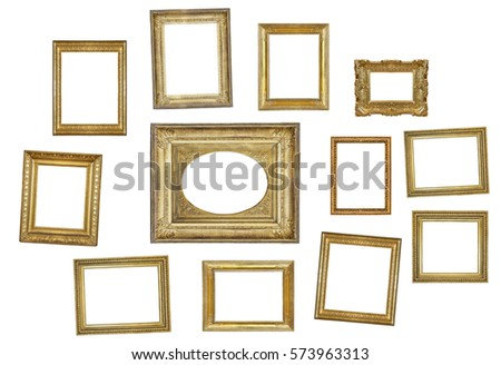Many Gilded Frames Isolated On White Stock Photo (Royalty Free ...
