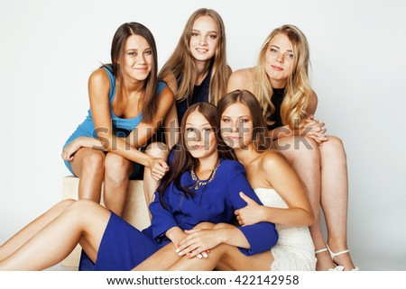 many girlfriends hugging celebration on white background, smiling talking chat, girl next door close up wondering sweety diverse teen group - stock photo