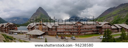 Many Glacier Hotel in Glacier NP in MT - stock photo