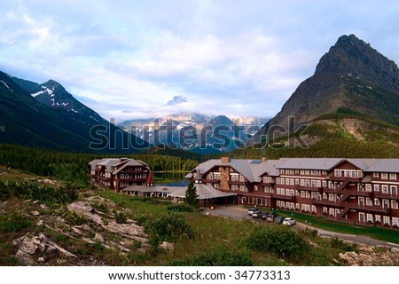Many glaciers hotel. Montana - stock photo