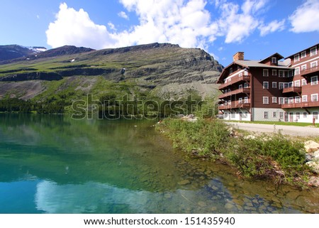 Many Glaciers resort - stock photo